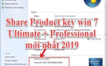 Share Product Key Win 7 Ultimate 64bit / 32bit mới nhất 2020
