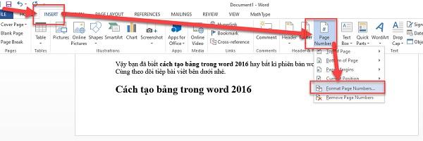 Cách đánh số trang trong word 2016, 2013, 2010 chi tiết nhất