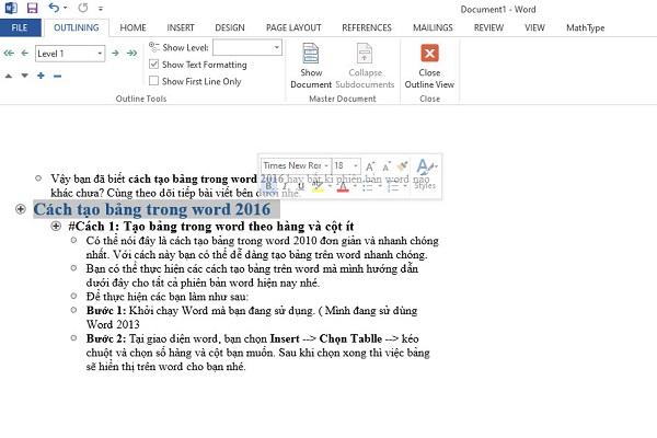 Cách làm mục lục trong word 2016, 2013, 2010 đơn giản nhất