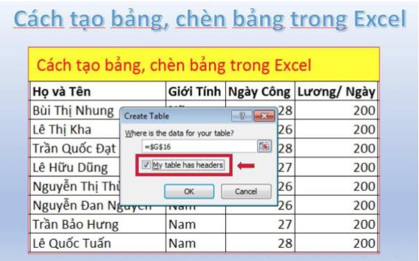 Hướng dẫn cách tạo bảng trong Excel 2010, 2013, 2016 chi tiết nhất