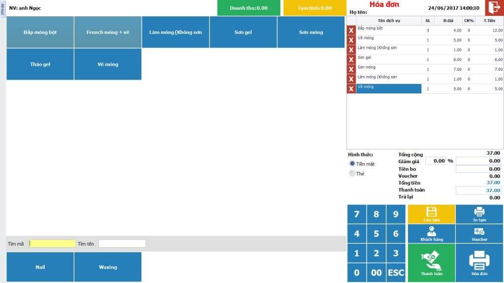 phần mềm quản lý tiệm nails